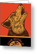 Rubino Wolf Dog Love One World Greeting Card