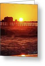 Ruby Sunset Oceanside Pier Greeting Card