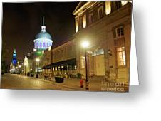 Rue Saint Paul In Old Montreal At Night Greeting Card