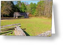 Rustic Double Crib Barn And Split Rail Fence In Cades Cove Greeting Card