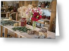 Rustic Wooden Table With Various Herbs And Flowers Greeting Card