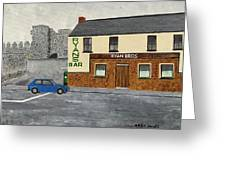 Ryans Pub And Swords Castle Painting Greeting Card