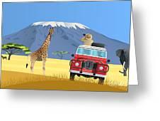 Safari Truck In African Savannah Greeting Card