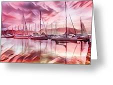 Sailboat Reflections At Sunrise Abstract Greeting Card