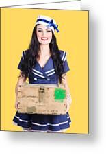 Sailor Pin Up Holding Nautical Supplies Greeting Card