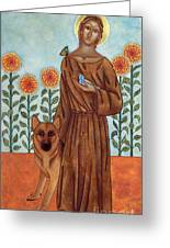 Saint Francis And The Wolf Of Gubbio Greeting Card