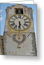 Saint Mary Church Clock Tower In Tavira. Portugal Greeting Card