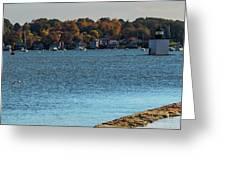Salem Derby Wharf Lighthouse Flooded Greeting Card by Jeff Folger
