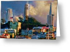 Salesforce Tower Coit Tower Transamerica Pyramid Greeting Card