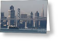 San Francisco Past The Bay Bridge Greeting Card