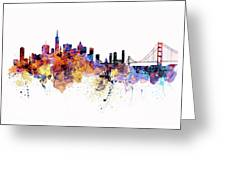 San Francisco Watercolor Skyline Greeting Card