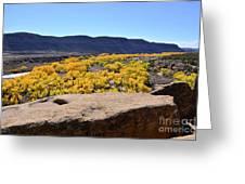 Sandstone Above Golden River Desert Landscape Greeting Card