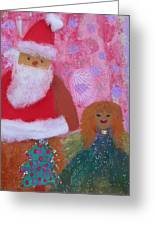 Santa Claus And Guardian Angel - Pintoresco Art By Sylvia Greeting Card