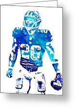 Saquon Barkley New York Giants Water Color Pixel Art 11 Greeting Card