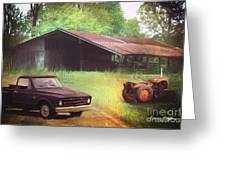 Scenes From The Past - Trucks And Tractors Greeting Card