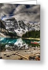 Scenic Mountain Landscape Of Moraine Greeting Card