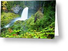 Scenic View Of Waterfall, Portland Greeting Card