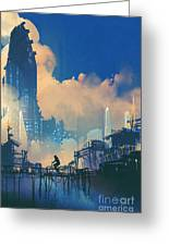 Sci-fi Cityscape With Slum And Greeting Card