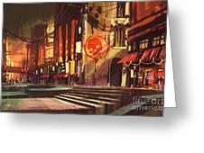 Sci-fi Scene Of Shopping Greeting Card