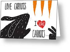 Scratchy Rabbits Love Carrots Greeting Card