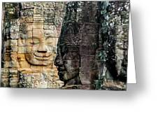 Sculptures At Bayon Temple, Angkor Greeting Card
