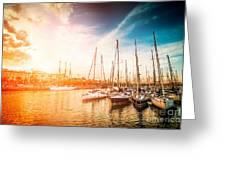 Sea Bay With Yachts At Sunset Greeting Card