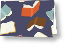 Seamless Flying Books Pattern Greeting Card