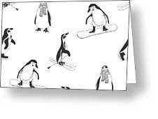 Seamless Pattern - Penguins. Winter Greeting Card