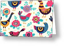 Seamless Pattern With Birds And Greeting Card