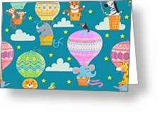 Seamless Pattern With Colorful  Hot Air Greeting Card