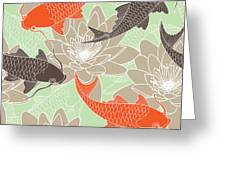 Seamless Pattern With Lotus And Carps Greeting Card