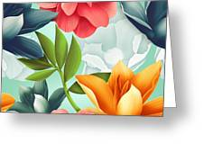 Seamless Tropical Flower, Plant Pattern Greeting Card
