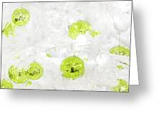 Seasons Greetings - Frosty White With Chartreuse Accents Greeting Card