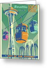 Seattle Poster- Space Needle Vintage Style Greeting Card