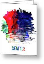 Seattle Skyline Brush Stroke Watercolor   Greeting Card