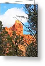 Sedona Adobe Jack Trail Blue Sky Clouds Trees Red Rock 5130 Greeting Card