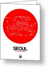 Seoul Red Subway Map Greeting Card