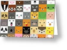 Set Of Cute Simple Animal Faces Greeting Card
