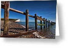 Seven Sisters Through Sea Defences Greeting Card