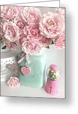 Shabby Chic Pink Roses In Aqua Mason Jar Romantic Cottage Floral Print Home Decor Greeting Card