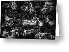 Shiny Bikes Galore In Black And White Greeting Card