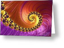 Shiny Purple And Gold Spiral Greeting Card