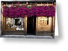 Showcase Full Of Purple Flowers In Greeting Card