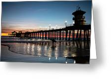 Silhouette Of Surfer At Huntington Greeting Card
