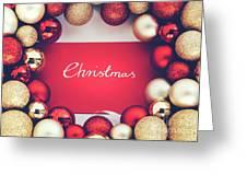 Silver Christmas Writing And Christmas Glass Balls. Greeting Card