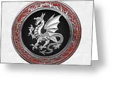 Silver Winged Norse Dragon - Icelandic Viking Landvaettir On Black And Silver Medallion Over White L Greeting Card