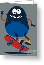 Skater Monster Victor Design For Kids Greeting Card