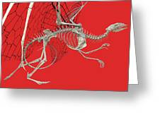 Skeleton Dragon With Red Greeting Card