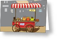Sketch Of Street Food Carts, Cartoon Greeting Card