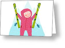 Skiing Sport Child Girl In Winter Greeting Card